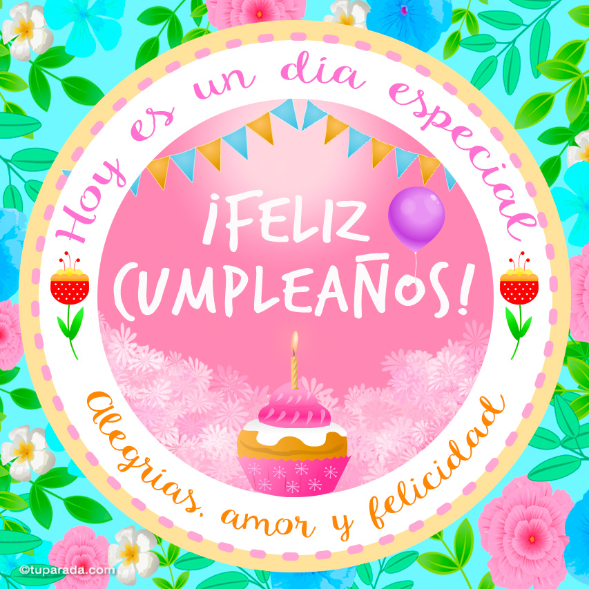 Tarjeta - Tarjeta de cumpleaños con cupcake