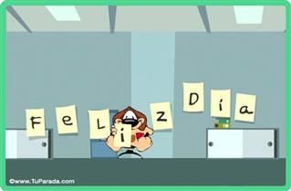Tarjeta de feliz día en oficina