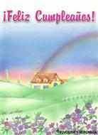 Feliz cumpleaños con casa y arco iris