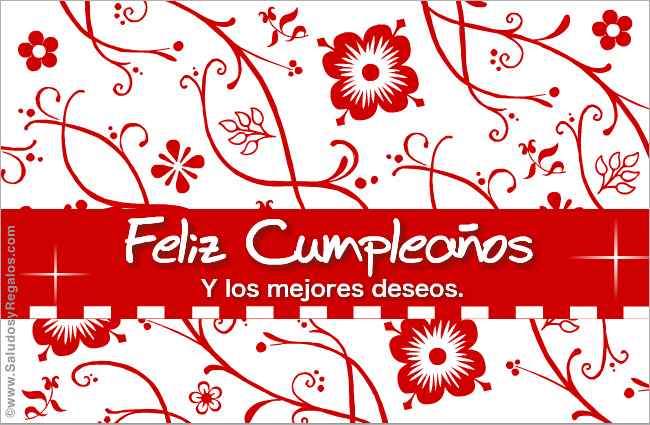 Tarjeta - Feliz Cumpleaños floreado