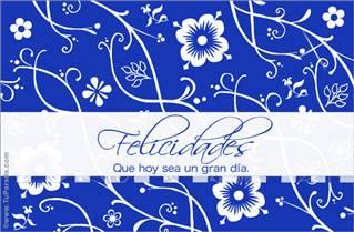 Felicidades floreado en azul
