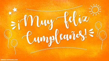 Tarjeta de cumpleaños en color naranja