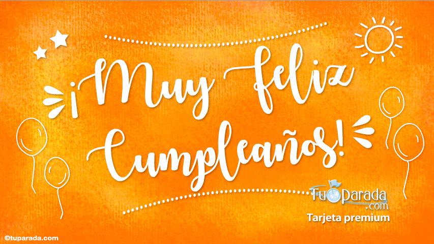 Tarjeta - Tarjeta de cumpleaños en color naranja
