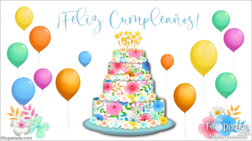 Tarjeta - Tarjeta con torta decorada con flores