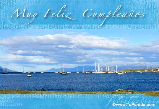 Tarjeta - Muchas felicidades con foto de barcos