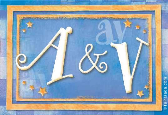 Tarjeta de iniciales A - V