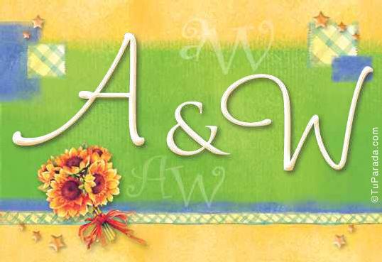 Tarjeta de iniciales A - W