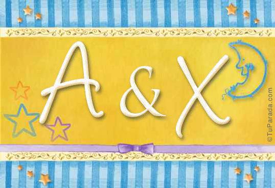 Tarjeta de iniciales A - X