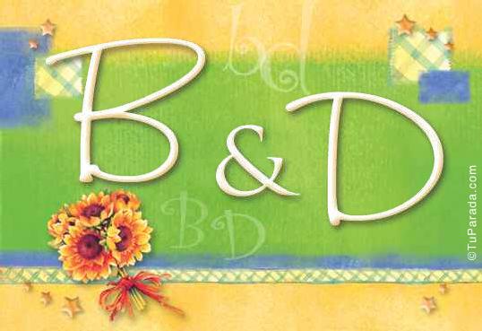 Tarjeta de iniciales B - D
