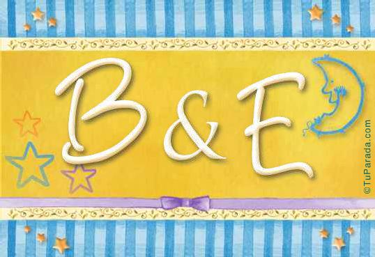 Tarjeta de iniciales B - E