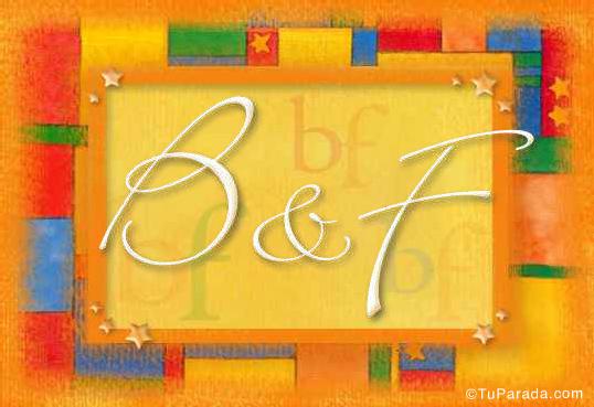 Tarjeta de iniciales B - F