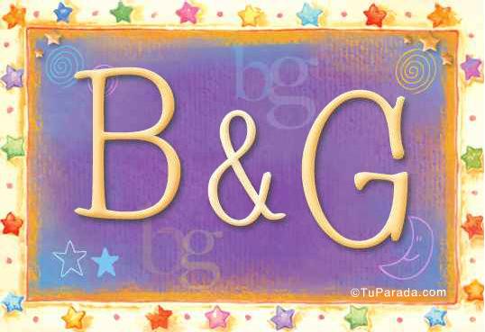 Tarjeta de iniciales B - G