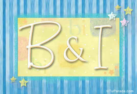Tarjeta de iniciales B - I