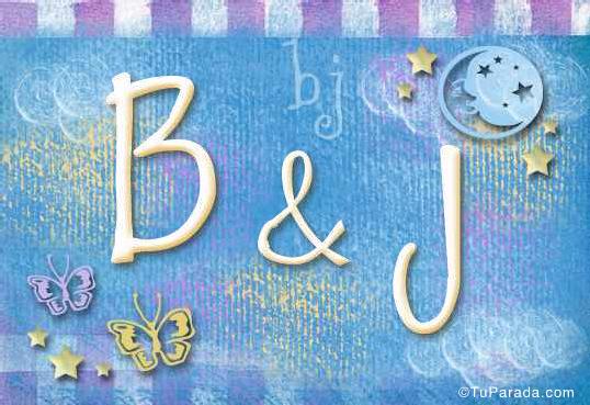 Tarjeta de iniciales B - J