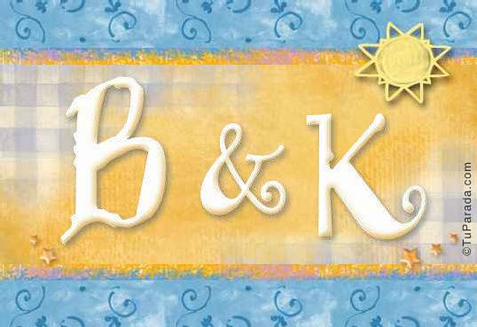 Tarjeta de iniciales B - K