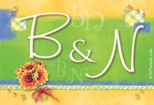 Tarjeta de iniciales B - N