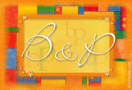 Tarjeta de iniciales B - P