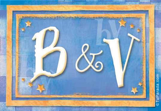 Tarjeta de iniciales B - V