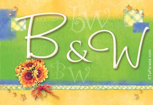Tarjeta de iniciales B - W