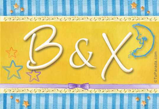Tarjeta de iniciales B - X