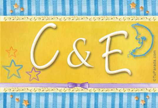 Tarjeta de iniciales C - E