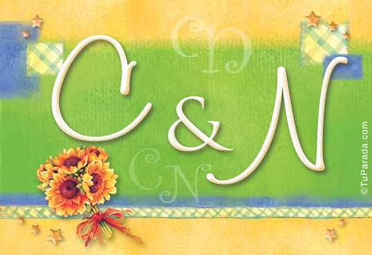 Tarjeta de iniciales C - N