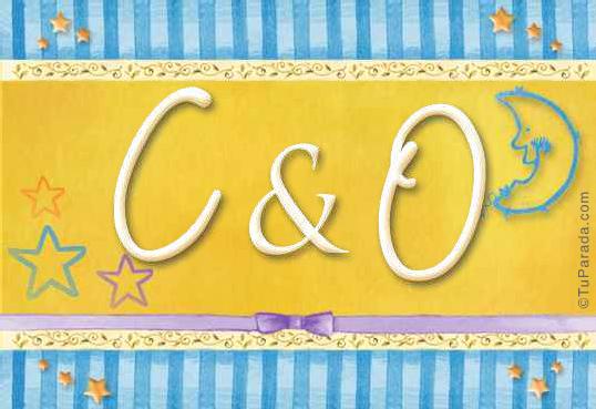 Tarjeta de iniciales C - O
