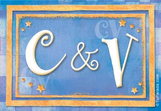 Tarjeta de iniciales C - V