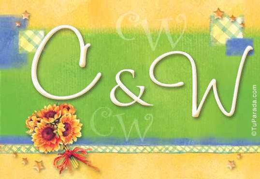 Tarjeta de iniciales C - W