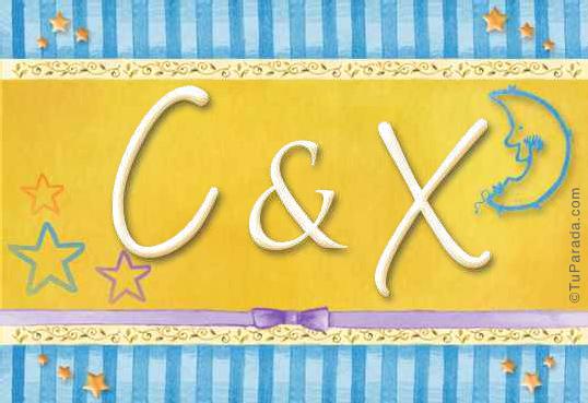 Tarjeta de iniciales C - X