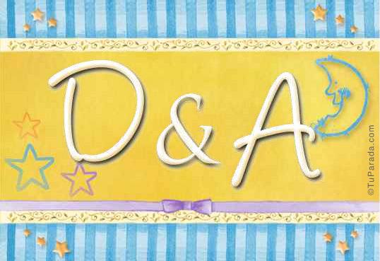 Tarjeta de iniciales D - A