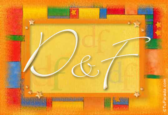 Tarjeta de iniciales D - F