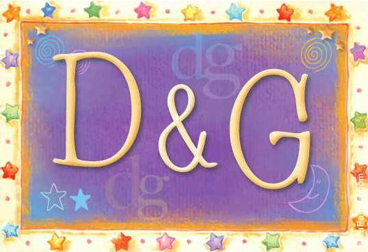 Tarjeta de iniciales D - G