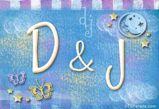 Tarjeta de iniciales D - J