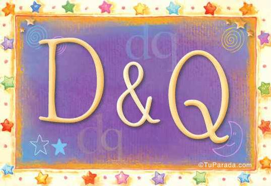 Tarjeta de iniciales D - Q