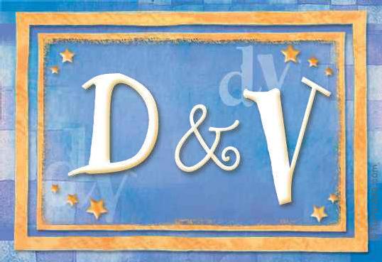 Tarjeta de iniciales D - V