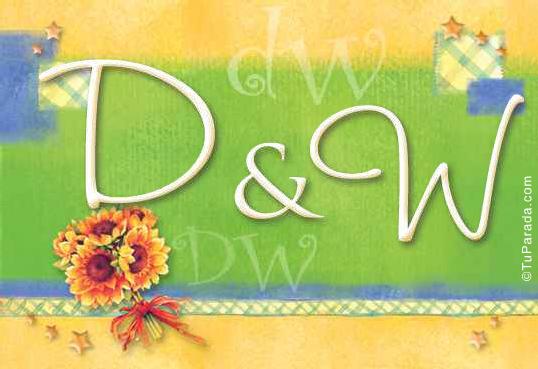 Tarjeta de iniciales D - W