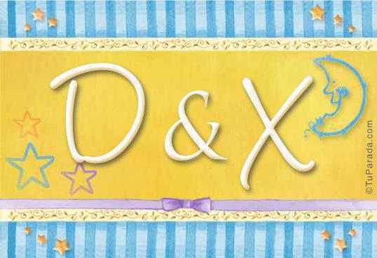 Tarjeta de iniciales D - X