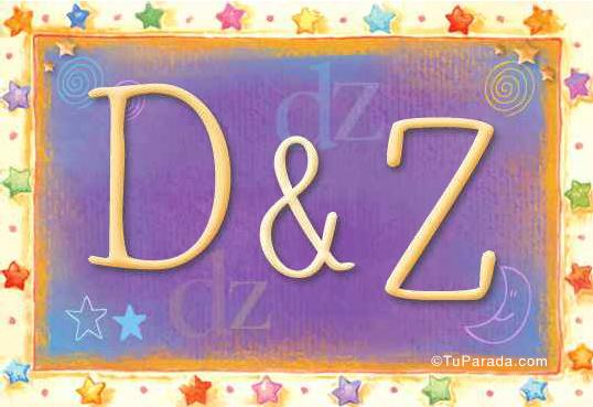 Tarjeta de iniciales D - Z