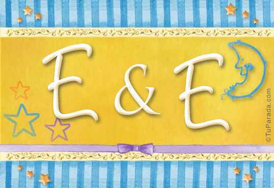 Tarjeta de iniciales E - E