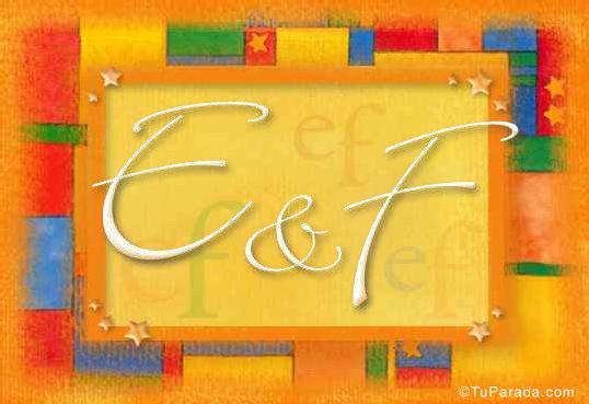 Tarjeta de iniciales E - F