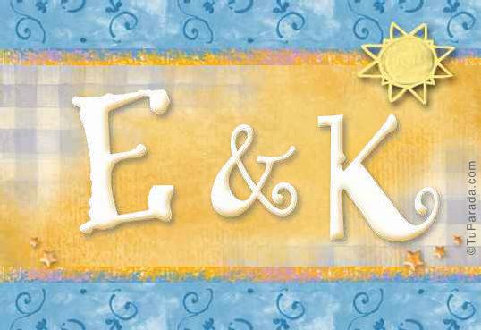 Tarjeta de iniciales E - K