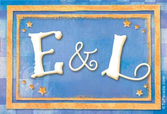 Tarjeta de iniciales E - L