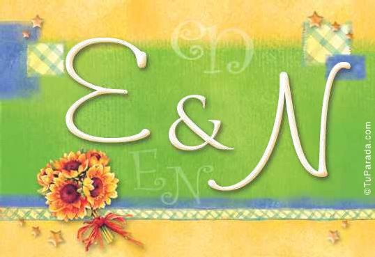 Tarjeta de iniciales E - N