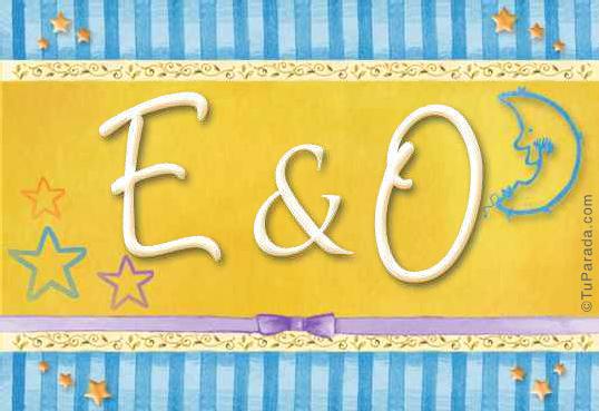 Tarjeta de iniciales E - O