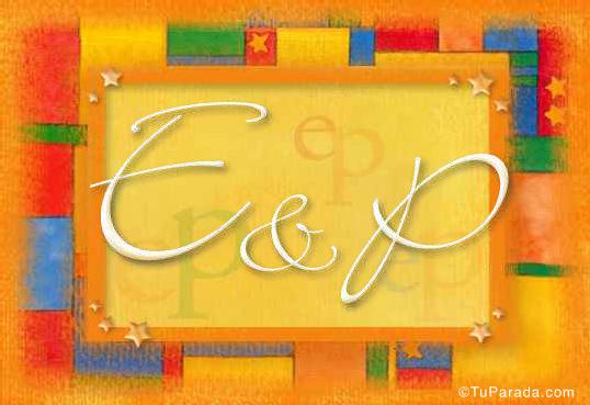 Tarjeta de iniciales E - P