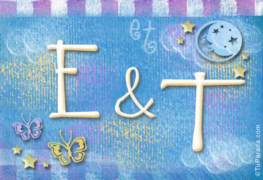 Tarjeta de iniciales E - T