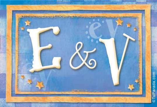 Tarjeta de iniciales E - V