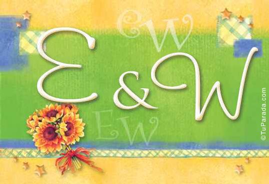 Tarjeta de iniciales E - W