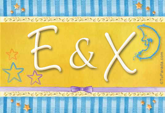 Tarjeta de iniciales E - X